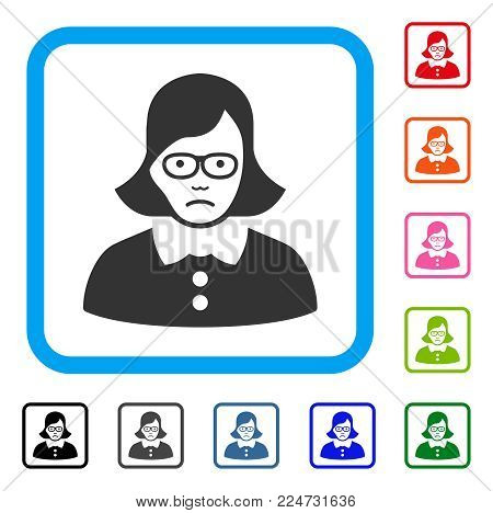 Dolor Teacher Lady vector pictograph. Person face has sad sentiment. Black, gray, green, blue, red, pink color versions of teacher lady symbol inside a rounded rectangular frame.
