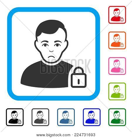 Unhappy User Lock vector pictograph. Person face has dolour sentiment. Black, gray, green, blue, red, pink color versions of user lock symbol in a rounded rectangular frame.
