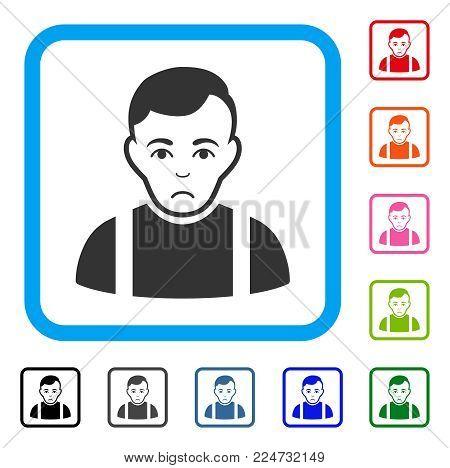 Sadly Guy vector pictogram. Human face has dolor sentiment. Black, grey, green, blue, red, orange color variants of guy symbol in a rounded squared frame.