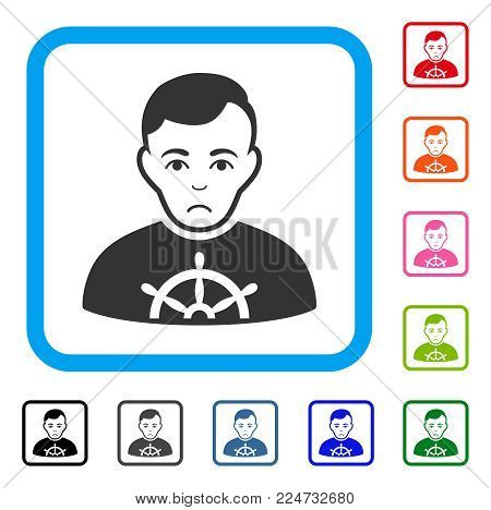 Pitiful Captain vector pictogram. Person face has sadly expression. Black, gray, green, blue, red, pink color versions of captain symbol in a rounded rectangle.