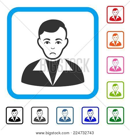 Dolor Guy vector icon. Human face has unhappy mood. Black, gray, green, blue, red, pink color versions of guy symbol in a rounded squared frame.