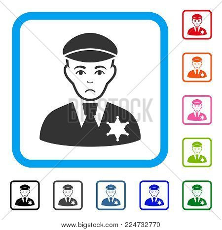 Sad Sheriff vector icon. Person face has sadly sentiment. Black, grey, green, blue, red, pink color versions of sheriff symbol inside a rounded frame.
