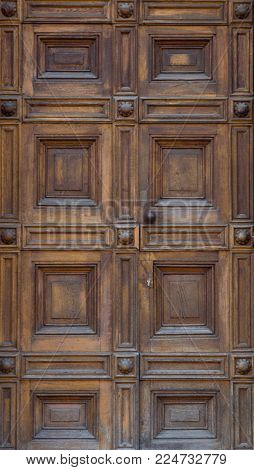 The vintage  wooden front door of an old house