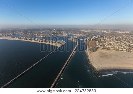 Aerial view of Alamitos Bay and the end of the San Gabriel river in Long Beach, California.