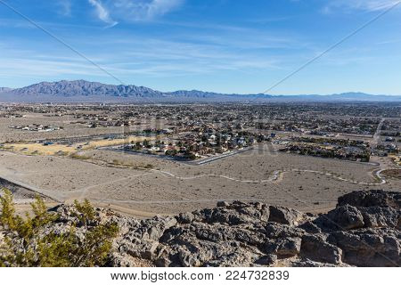 View from the top of Lone Mountain park on the northwest side of Las Vegas Nevada.
