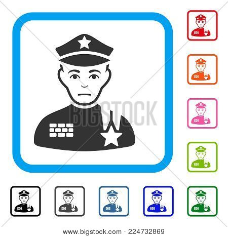 Sadly Army General vector pictograph. Human face has pitiful emotion. Black, gray, green, blue, red, pink color versions of army general symbol inside a rounded frame.