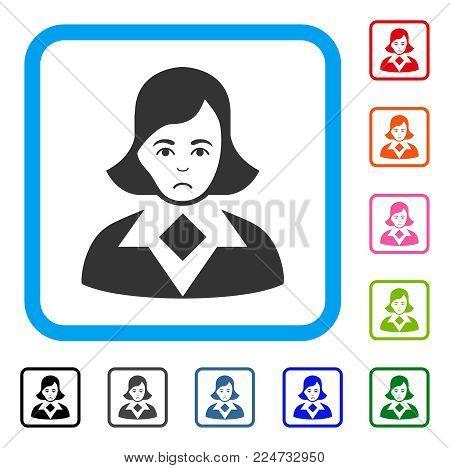 Woman raster flat pictogram. Human face has glad sentiment.
