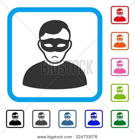Pitiful Anonymous Person vector pictograph. Human face has stress emotion. Black, grey, green, blue, red, pink color variants of anonymous person symbol in a rounded rectangle.