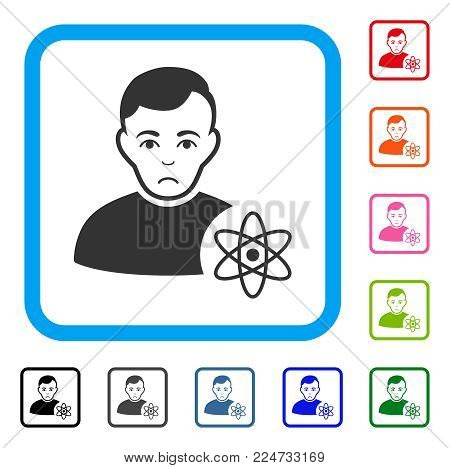 Sad Atomic Scientist vector icon. Human face has sad feeling. Black, gray, green, blue, red, orange color versions of atomic scientist symbol in a rounded frame.