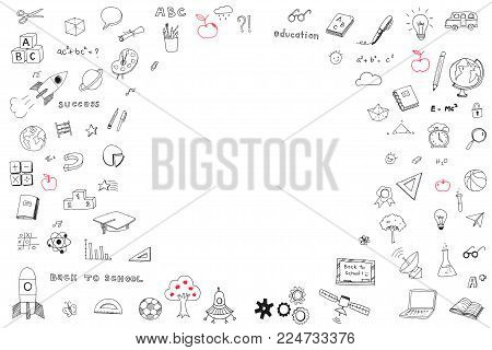 Children's childhood creative idea and school education success concept with student's hand drawing doodle on white wall background with blank copyspace