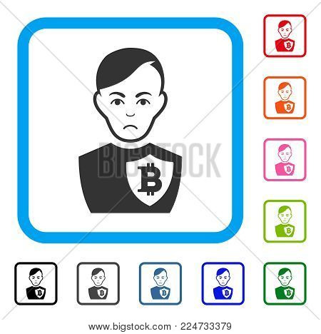 Sadly Bitcoin Police Officer vector pictogram. Human face has mourning expression. Black, gray, green, blue, red, pink color variants of bitcoin police officer symbol in a rounded squared frame.