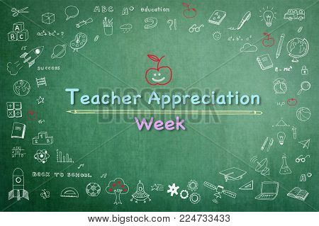 National teacher appreciation week on green chalkboard with doodle poster