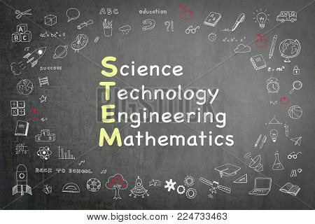 STEM education or Science Technology Engineering Mathematics knowledge-based learning concept on school teacher's chalkboard with student's doodle