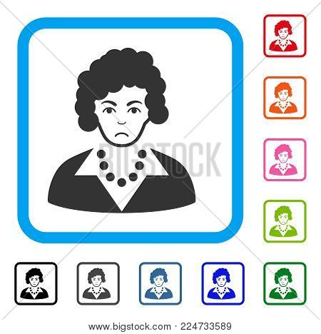 Pitiful Brunette Lady vector pictograph. Person face has grief mood. Black, gray, green, blue, red, orange color versions of brunette lady symbol inside a rounded square.