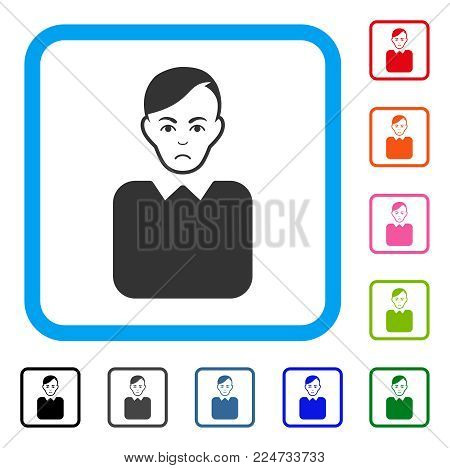 Unhappy Bureaucrat vector pictograph. Human face has affliction emotion. Black, gray, green, blue, red, orange color variants of bureaucrat symbol in a rounded rectangular frame.