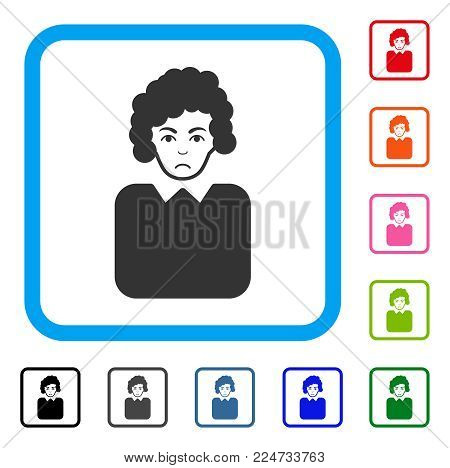 Sadly Bureaucrat Lady vector icon. Person face has depression expression. Black, grey, green, blue, red, orange color variants of bureaucrat lady symbol inside a rounded rectangle.