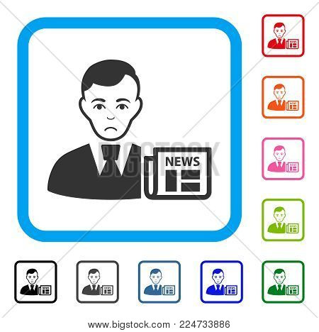 Dolor Businessman News vector pictograph. Person face has dolor mood. Black, grey, green, blue, red, pink color variants of businessman news symbol in a rounded rectangular frame.