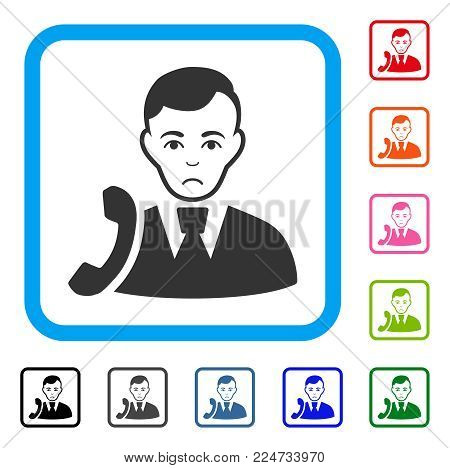 Pitiful Call Manager vector pictograph. Person face has affliction sentiment. Black, grey, green, blue, red, orange color versions of call manager symbol in a rounded rectangular frame.