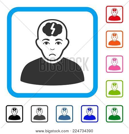 Unhappy Clever Boy vector icon. Person face has affliction sentiment. Black, gray, green, blue, red, orange color variants of clever boy symbol in a rounded frame.