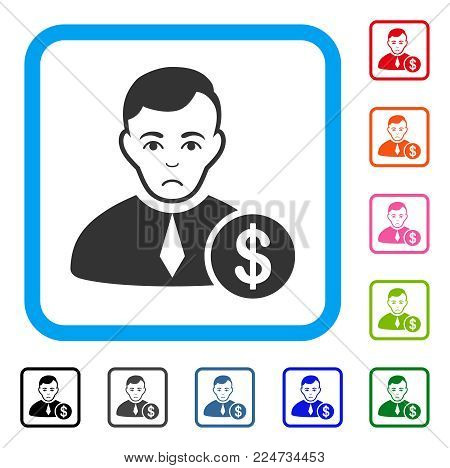 Unhappy Commercial Lawyer vector pictograph. Human face has sorrow sentiment. Black, gray, green, blue, red, orange color variants of commercial lawyer symbol in a rounded squared frame.