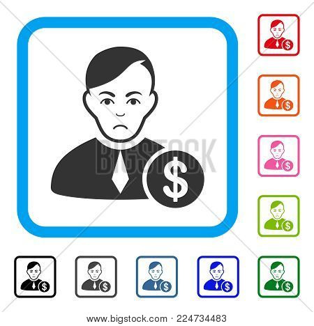 Pitiful Commercial Loyer vector icon. Person face has unhappy sentiment. Black, gray, green, blue, red, orange color versions of commercial loyer symbol inside a rounded square.