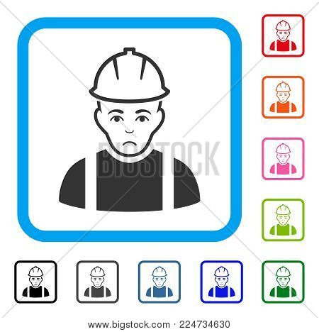 Pitiful Contractor vector icon. Human face has depression emotion. Black, gray, green, blue, red, orange color variants of contractor symbol inside a rounded rectangle.