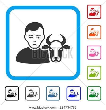 Sad Cow Farmer vector pictograph. Person face has desperate mood. Black, gray, green, blue, red, orange color variants of cow farmer symbol in a rounded frame.