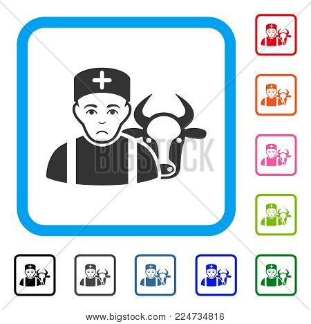 Unhappy Cow Veterinarian vector pictograph. Human face has desperate emotions. Black, grey, green, blue, red, orange color variants of cow veterinarian symbol in a rounded square.