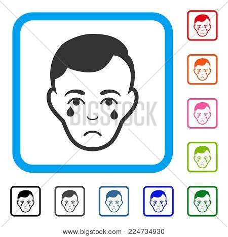 Sadly Crying Man Face vector pictogram. Person face has sadness mood. Black, grey, green, blue, red, pink color versions of crying man face symbol in a rounded squared frame.