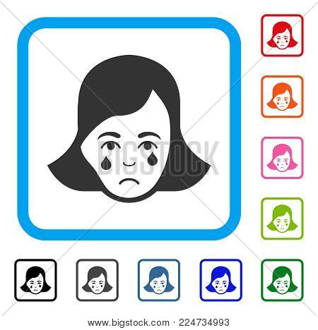 Pitiful Crying Woman Face vector icon. Person face has unhappy sentiment. Black, grey, green, blue, red, orange color versions of crying woman face symbol inside a rounded rectangular frame.
