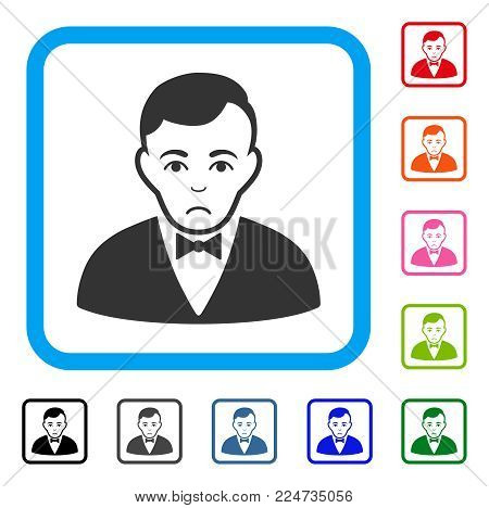 Unhappy Dealer vector icon. Human face has sad feeling. Black, grey, green, blue, red, pink color variants of dealer symbol in a rounded square.