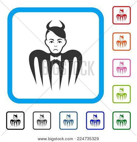 Sadly Devil Spectre vector icon. Person face has pitiful feeling. Black, grey, green, blue, red, pink color versions of devil spectre symbol in a rounded squared frame.