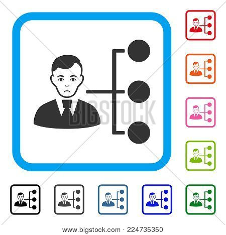 Pitiful Distribution Manager vector pictogram. Human face has depressed emotions. Black, gray, green, blue, red, orange color variants of distribution manager symbol inside a rounded squared frame.