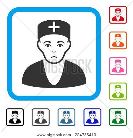 Dolor Doctor vector icon. Human face has depressed emotions. Black, gray, green, blue, red, orange color versions of doctor symbol in a rounded square.