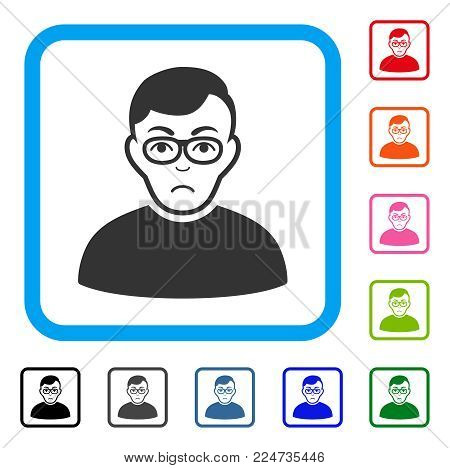 Sad Downer vector pictogram. Human face has sad feeling. Black, grey, green, blue, red, orange color versions of downer symbol in a rounded square.