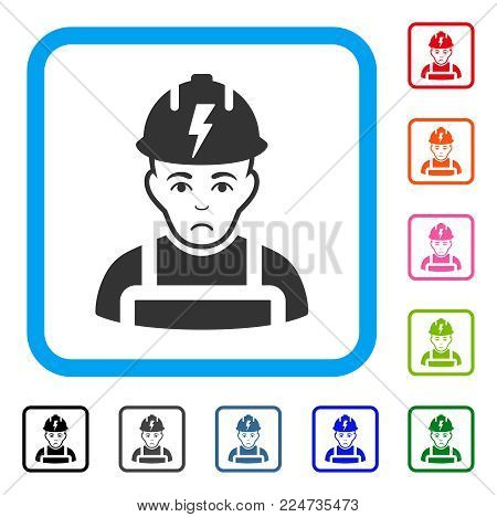 Dolor Electrician vector pictogram. Human face has sad feeling. Black, grey, green, blue, red, pink color versions of electrician symbol in a rounded squared frame.