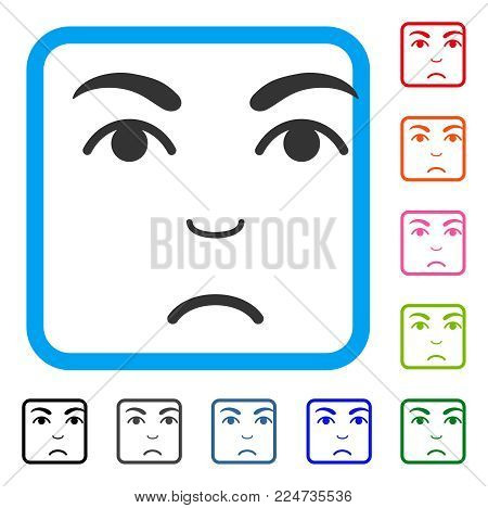 Pitiful Face vector icon. Person face has sadness feeling. Black, gray, green, blue, red, orange color versions of face symbol in a rounded rectangle.