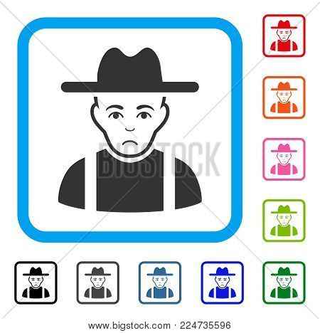 Sad Farmer Guy vector pictograph. Person face has sadness sentiment. Black, gray, green, blue, red, orange color versions of farmer guy symbol in a rounded rectangle.