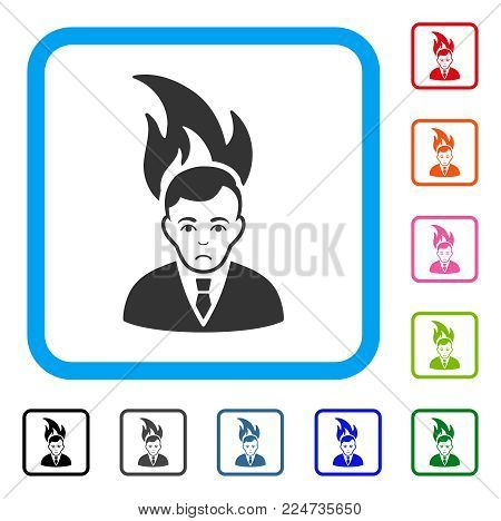 Unhappy Fired Manager vector icon. Human face has affliction emotion. Black, gray, green, blue, red, pink color variants of fired manager symbol inside a rounded square.