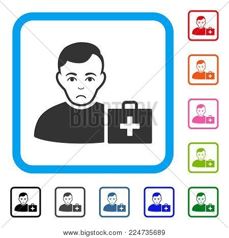 Pitiful First-Aid Man vector pictograph. Human face has depression emotion. Black, grey, green, blue, red, pink color variants of first-aid man symbol in a rounded squared frame.
