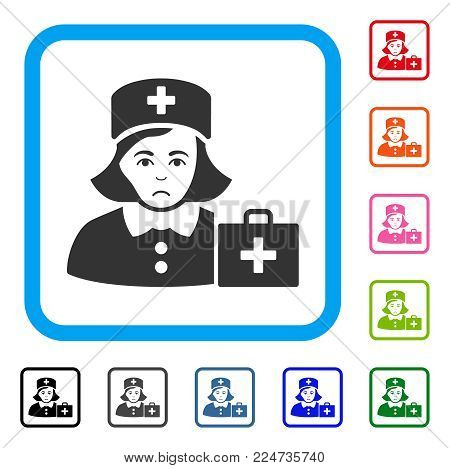 Sad First-Aid Nurse vector pictograph. Person face has grief feeling. Black, gray, green, blue, red, orange color versions of first-aid nurse symbol in a rounded rectangular frame.