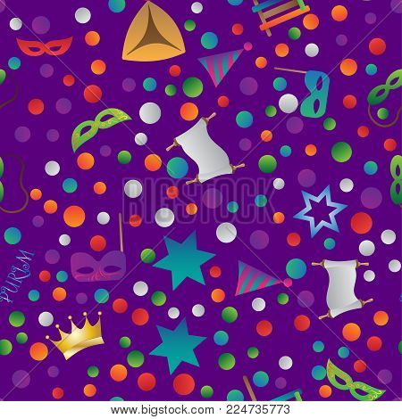 Colorful seamless pattern with objects for the Jewish holiday Purim ball mask carnival, Patty, ratchet, Jewish star, a scroll, a crown and a fancy hat