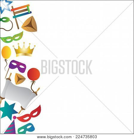 Colorful background with objects for the Jewish holiday Purim ball mask carnival, Patty, ratchet, Jewish star, a scroll, a crown and a fancy hat