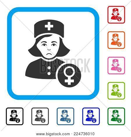 Sadly Gynecologist Lady Doctor vector pictograph. Person face has sad mood. Black, grey, green, blue, red, pink color versions of gynecologist lady doctor symbol in a rounded square.