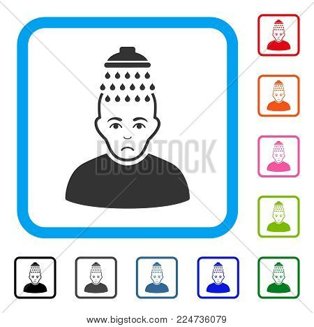 Sadly Head Shower vector icon. Human face has depression emotions. Black, gray, green, blue, red, orange color versions of head shower symbol in a rounded rectangular frame.