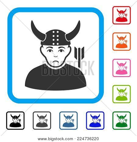 Dolor Horned Warrior vector icon. Person face has depressed sentiment. Black, gray, green, blue, red, orange color variants of horned warrior symbol in a rounded squared frame.