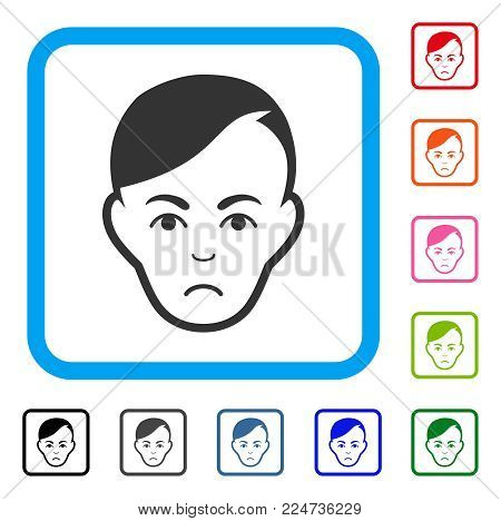 Sad Human Head vector pictogram. Human face has desperate feeling. Black, gray, green, blue, red, orange color versions of human head symbol in a rounded square.