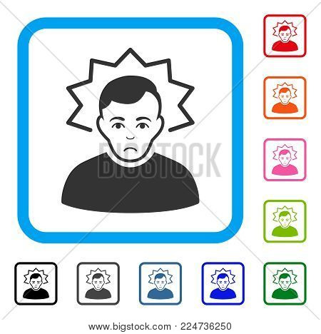 Dolor Inventor vector pictogram. Human face has grief emotion. Black, gray, green, blue, red, pink color versions of inventor symbol inside a rounded rectangle.