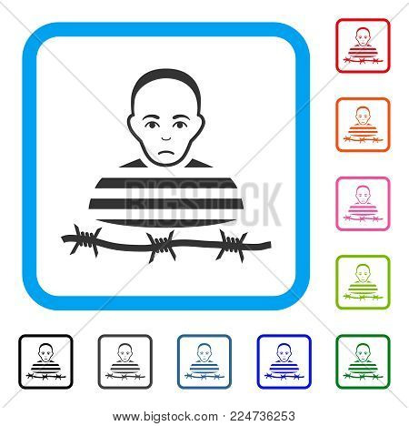 Sad Isolated Prisoner vector pictograph. Person face has pitiful expression. Black, grey, green, blue, red, pink color variants of isolated prisoner symbol inside a rounded frame.
