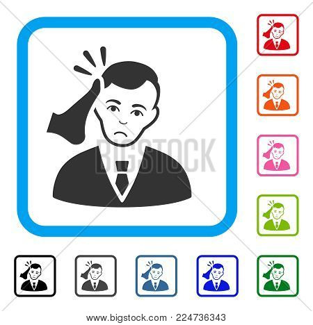 Unhappy Kickboxer Victim vector pictogram. Human face has sadness emotions. Black, grey, green, blue, red, pink color variants of kickboxer victim symbol inside a rounded squared frame.